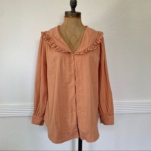 Zara Peter Pan Long Sleeve Blouse Peach (XS)
